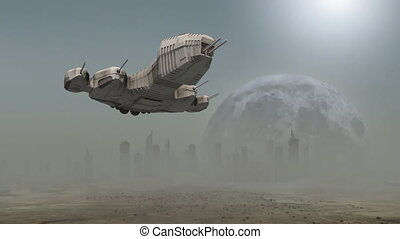 Spaceship landing before a futuristic city - An animation of...