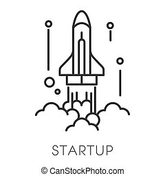 Spaceship launch, startup technology isolated outline icon