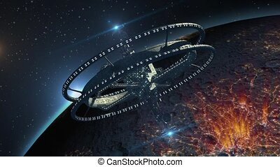 Spaceship near an alien planet