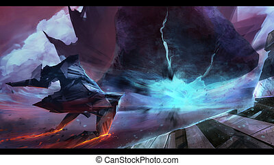 Fantasy futuristic spaceship flying with neon space planet hill explosion, motion view art illustration.