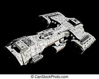 Spaceship on black front angle view - Science fiction...