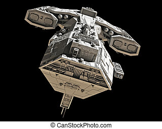 Spaceship on black - front view - Science fiction spaceship...