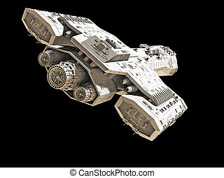 Spaceship on black rear angled view - Science fiction...