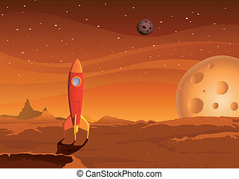 spaceship-on-martian-landscape - Illustration of a cartoon...
