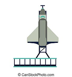 Spaceship on take off plataform symbol isolated vector...