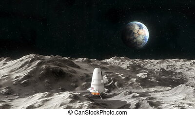 Spaceship on the Surface of the Moon 1 - Animated shot...