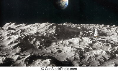 Spaceship on the Surface of the Moon 2 - Animated shot...