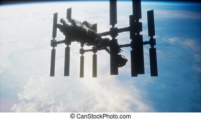 spaceship., orbiter, vue, iss, la terre