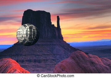 Spaceship over Monument Valley - Spherical spaceship flying...