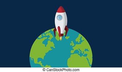 Spaceship rocket taking off HD animation - Spaceship rocket...