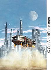 Spaceship shuttle landing 3D render science fiction...