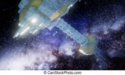 spaceship spacecraft outer galaxy universe. Elements of this...