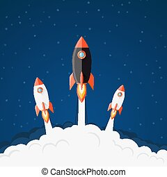Spaceship take-off illustration - Rocket launching...