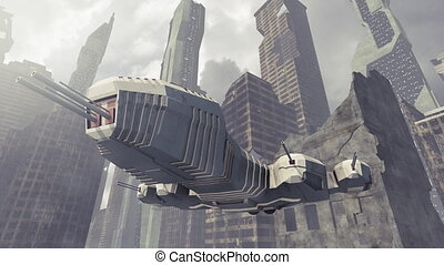 Spaceship taking off a damaged city