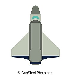 Spaceship vertical take off position symbol isolated vector...