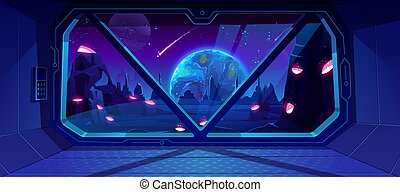 Spaceship view on Earth at night from alien planet