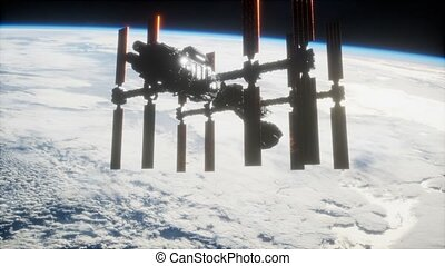 spaceship., vue, iss, orbiter, la terre