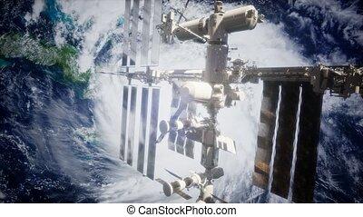 spaceship., vue, la terre, orbiter, iss