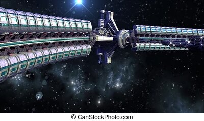 Spaceship wheel - Interstellar spaceship with dome core and...