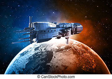 spaceship with planet earth background