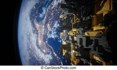 Spaceship with View on Space and Planet Earth - spaceship...