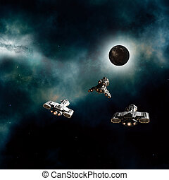 Spaceships Approaching Dark Planet - Science fiction...