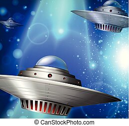 Spaceships flying in the galaxy
