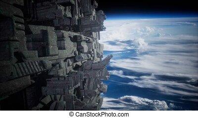 Spaceships in space 3D rendering