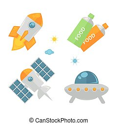 Spaceships set and food in tubes colorful poster on white