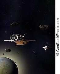 Spaceships Travelling Through an Asteroid Field Above a Blue Green Planet