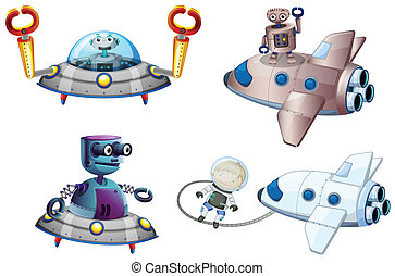 Spaceships with robot and a young boy near the plane