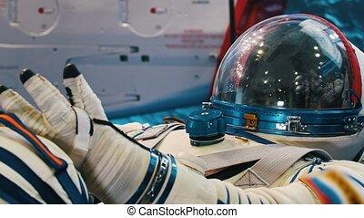 spacesuit, avion, blanc, exposition, technologie