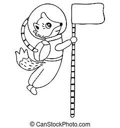 spacesuit, odizolowany, zawiera, powaga, hand-drawing, ...