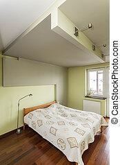 spacieux, appartement, -, chambre à coucher, intérieur