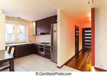 spacieux, appartement, -, cuisine, intérieur