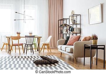 spacieux, appartement, intérieur