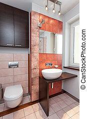 spacieux, appartement, -, salle bains, intérieur