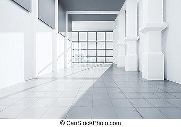 spacieux, blanc, béton, intérieur
