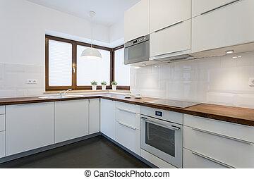 spacieux, cuisine, dans, moderne, appartement