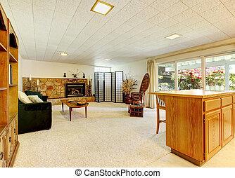 spacieux, salle de séjour, à, cheminée