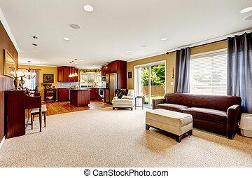 spacieux, salle de séjour, à, cuisine, area.
