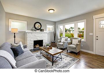 spacieux, salle de séjour, à, traditionnel, cheminée