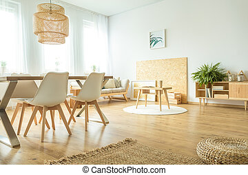 spacieux, salle manger, intérieur