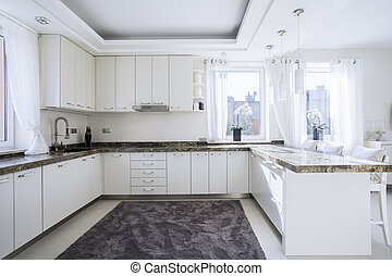 The bright, spacious and modern kitchen