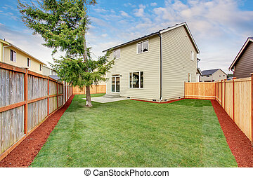 Spacious backyard area of American house with green lawn and pine tree