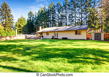 Spacious backyard with patio area and well kept lawn.