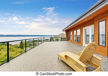 Spacious balcony with perfect water view