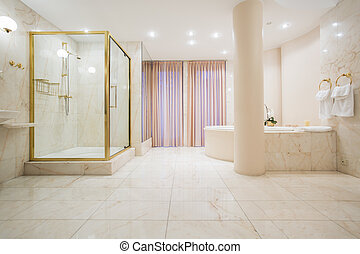 Spacious bathroom in pastel color in luxury mansion