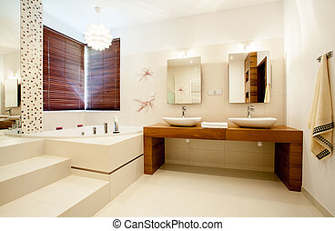 Spacious bathroom in modern house - View of spacious...