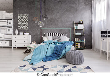 Spacious bedroom in grey and white idea